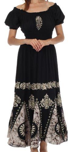 [Sakkas 0802 Batik Sunshine Peasant Dress - Black / White - One Size] (Cinco De Mayo Dress)
