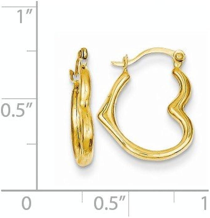 14k Yellow Gold Heart Shaped Hollow Hoop Earrings 0.6IN x 0.5IN