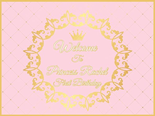 Custom Pink & Gold Princess Crown Birthday Poster - Size 24x36, 48x24, 48x36; Royal Birthday, Personalized Banner, Little princess;10000364 Handmade Party Supply Birthday Banner Decorations