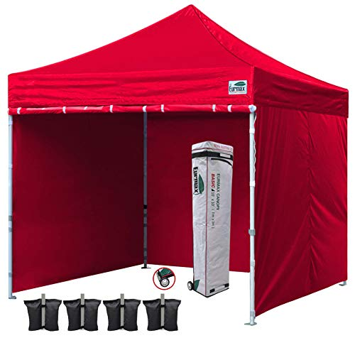 Eurmax 10x10 Ft Easy Pop-up Canopy Commercial Instant Party Tent with 4 Removable Sidewalls and Roller Bag, Bonus 4pcs Weight Bags - Party Gazebo Green Garden