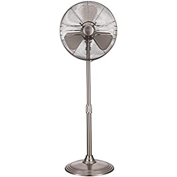 """Hunter 90438 16"""" RETRO Stand Fan with Brushed Nickel Finish"""