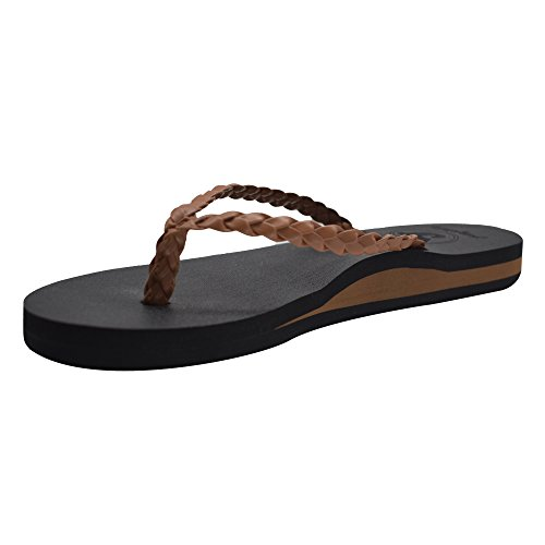 37ae2476c4d86d Jiajiale Women s Yoga Mat Flip Flop Arch Support Braided Leather Cushioned  Foam Thong Sandals Non Slip