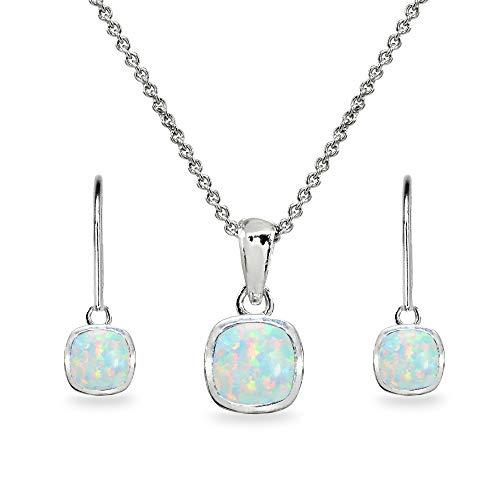- Sterling Silver Simulated White Opal Cushion-Cut Bezel-Set Pendant Necklace & Dangle Leverback Earrings Set