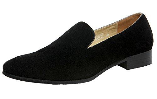 Santimon Mocassins En Daim Pour Les Hommes Fumer Slipper Mocassins Casual Slip On Loafer Robe Chaussures Noir Bleu Noir