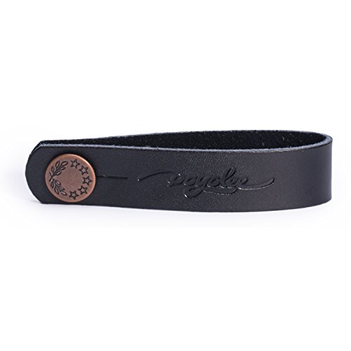 POYOLEE Leather Guitar Neck Strap Button Guitar Headstock Strap Tie, Black/Anti Copper