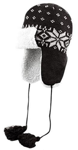 W4W Unisex childrens Winter Warm Knit Trooper Hat With a Sherpa Fleec Lining and Extra warm Fleec ear warmers - Kids One size - (Burgundy Felt Bonnet)