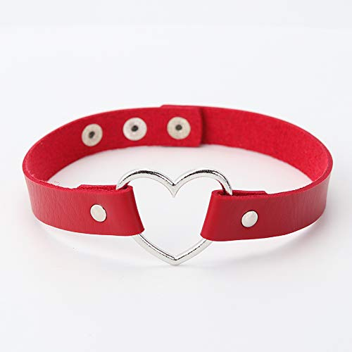 Leather Punk Heart Studded Choker Necklace | Buckle Necklace | Gift for Women Jewelry (red) - Handmade Studded Bib