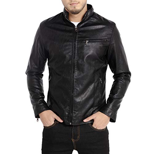 WULFUL Men's Stand Collar Leather Jacket Motorcycle Lightweight Faux Leather Outwear Black-XL from WULFUL