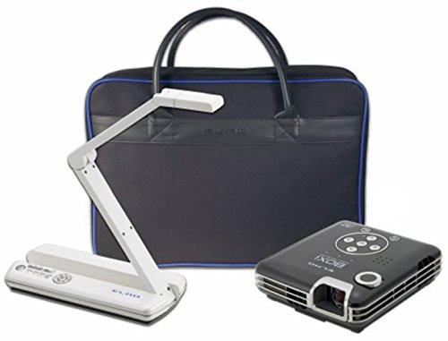 Elmo 1938-1 POG Presentations on the Go Bundle, Includes MO-1 White Versatile Ultra Compact Visual Presenter, BOXi T-350 Mobile Projector, Soft Padded Bag and an HDMI Cable ()