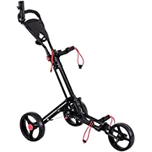 Tangkula Golf Cart 3 Wheels Foldable Hand Cart Easy Push and Pull Cart Trolley with Umbrella and Tee Holder, Quick Open and Close