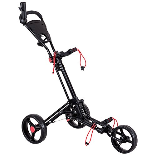 Tangkula Golf Cart 3 Wheels Foldable Hand Cart Easy Push and Pull Cart