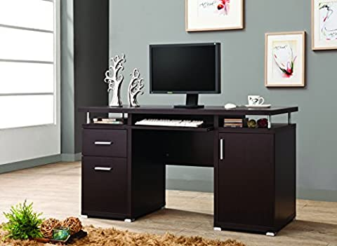 Coaster Home Furnishings 800107 Contemporary Computer Desk, Cappuccino - Home Furnishings