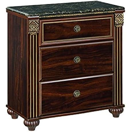 Ashley Furniture Signature Design Gabriela Nightstand 3 Drawer Bedside Table Traditional Dark Reddish Brown