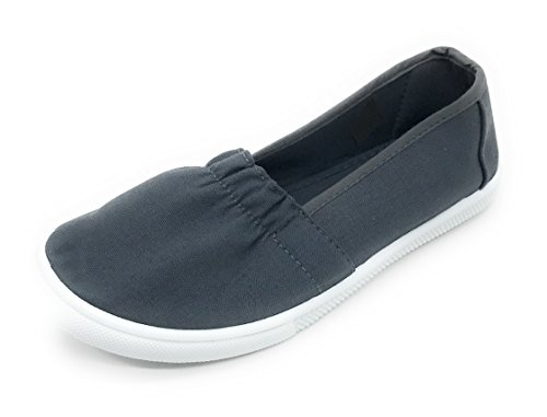 Easy21 Canvas Tondo Da Donna Slip On Flat Fashion Sneaker Grigio