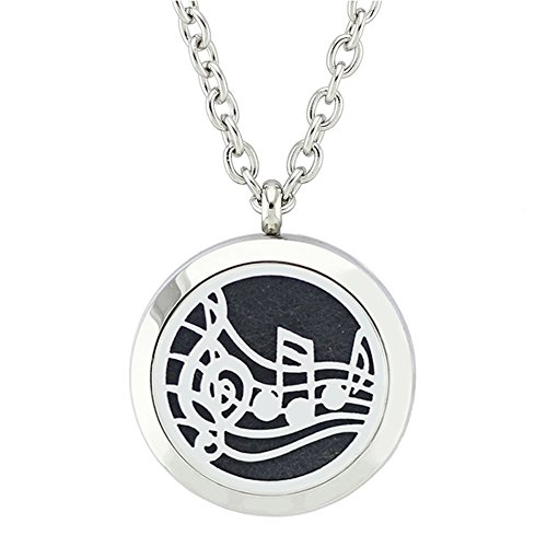 fan products of Jenia Round Pendant Stainless Steel Essential Oil Diffuser Magnetic Aromatherapy Locket Necklace