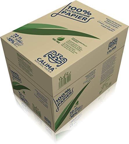 CALIMA® NATURAL PAPER Kopierpapier, Druckerpapier, TreeFree, ungebleicht, Upcycling aus 100% Zuckerrohr, nachhaltig, DIN A4 72g/m², naturfarben, (2500 Blatt = 5 Pakete à 500 Blatt), Recycling