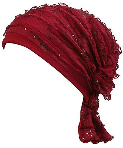 - DancMolly Ruffle Chemo Turban Cancer Headband Scarf Slouchy Beanie Cap Muslim Scarf Headwear for Cancer (Wine 2)