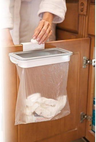 Soporte para armarios y Bolsa de Basura Plegable de pl/ástico Soporte de Basura para Puerta de Acero Inoxidable para Colgar basuras residuos de Cocina Bolsa de Basura EQLEF