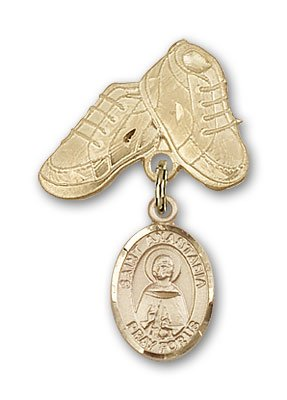 ReligiousObsession's 14K Gold Baby Badge with St. Anastasia Charm and Baby Boots Pin