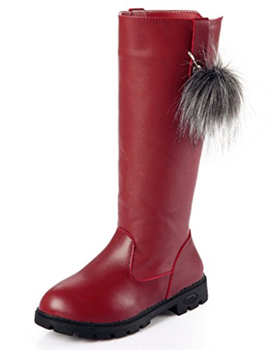 DADAWEN Girl's Waterproof Pom Pom Back Zipper Fur Tall Riding Boots (Toddler/Little Kid/Big Kid) Wine Red US Size 4 M Big (Tall Flat Riding Boot)