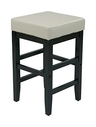 Office Star 25-Inch Square Faux Leather Backless Barstool with Espresso Legs, Cream