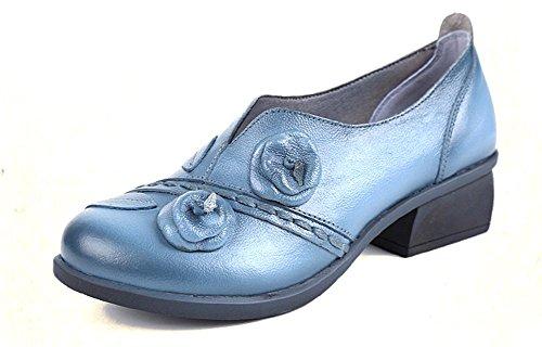 Cunzhai Scarpe Casual In Pelle Da Donna Con Tacco Medio Pompe Chunky Slip On Boots Blu