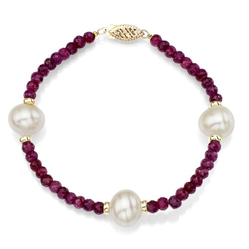 14k Yellow Gold 9-9.5mm White Freshwater Cultured Pearl 4mm Simulated Red Ruby Bracelet, 7.25