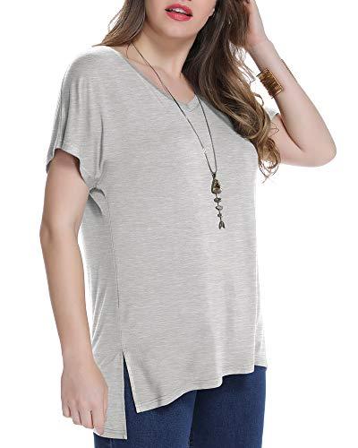 JollieLovin Women's Short Sleeve T Shirt V Neck Loose Tops with Side Split (Heather Gray L)