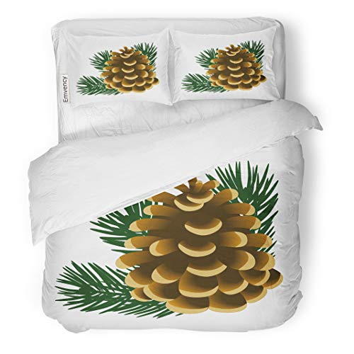 Semtomn Decor Duvet Cover Set King Size Brown Single Pinecone and Twigs of Pine Tree The 3 Piece Brushed Microfiber Fabric Print Bedding Set Cover