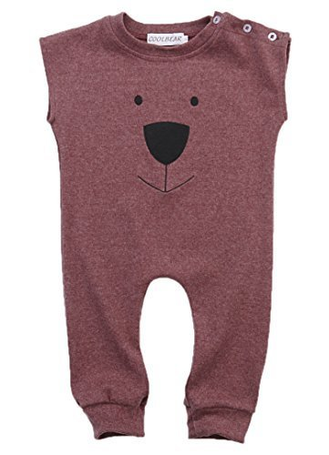Ma&Baby Infant Baby Girl Boys Bear Jumpsuit Animal Cotton Romper Toddler Clothes (6-12 Months, Wine red)