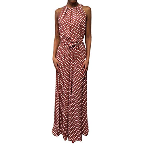 - HJuyYuah Women Casual Summer Dot Printed Sleeveless Beach Dress Sundress Red