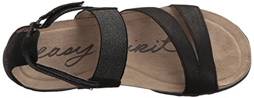 Black Leather Women's Easy Mesaa Spirit Flat Sandal qHYxaXwv