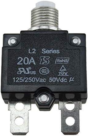 Emilyisky 5A / 10A / 15A / 20A / 30A Interruptor automático Interruptor a Prueba de Agua Botón de Fusible térmico reiniciable Interruptor automático Montaje en Panel Negro 20A