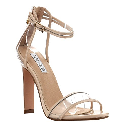 CAPE ROBBIN FG28 Women's Ankle Strap Single Band Block Heel Dress Sandals, Color:NUDE, Size:11