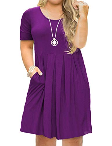 Tralilbee Women's Round Neck Summer Casual Plus Size Midi Dress with Pocket Purple XL