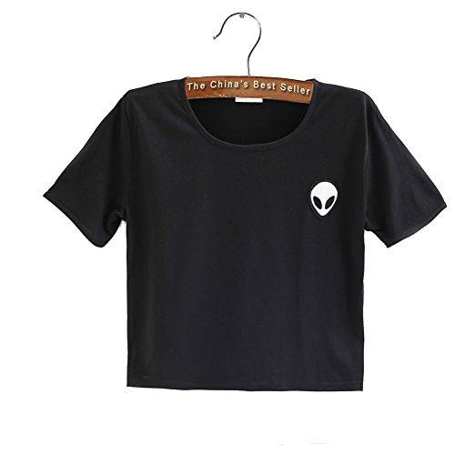 UFO Alien Novelty Crop Top Tank Women Slim Sweater Tees Teenagers T (Girl Kids Ringer T-shirt)
