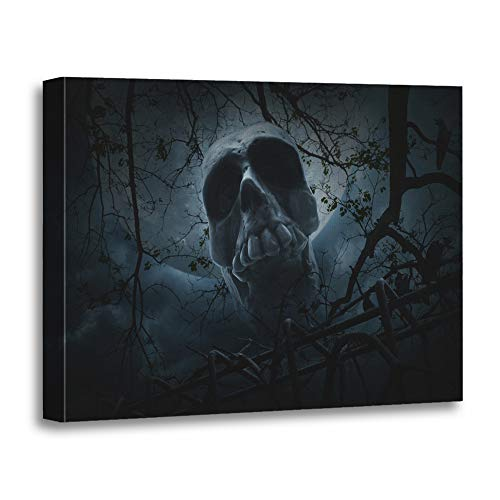 Emvency Painting Canvas Print Artwork Decorative Print Human Skull Old Fence Over Dead Tree Crow Moon and Cloudy Sky Spooky Halloween Wooden Frame 24x32 inches Wall Art for Home Decor for $<!--$69.80-->