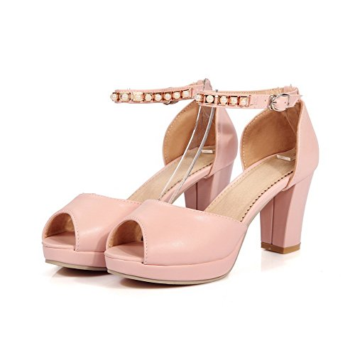 Women's High Solid Pu Peep Buckle Pink WeenFashion Toe Heels Sandals aT1RBqdac6