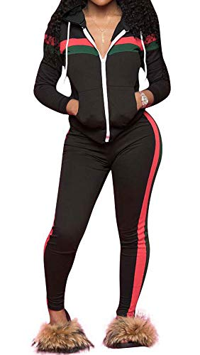 TOP-MAX Women 2 Pieces Tracksuit Ladies Zipper Playsuits Sportswear Strip Hooded Zip up Sweatshirt Hoodies + Pants Trousers (Best Sportswear For Ladies)