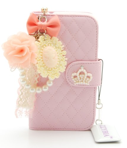 ZZYBIA® S4 QCV Pink Leatherette Stand Case Card Holder Wallet With Romantic Victorian Dust Plug Charm for Samsung Galaxy S4 IV I9500 I9505
