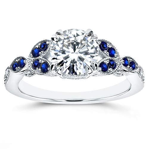 Kobelli Antique Moissanite and Blue Sapphire Engagement Ring Accents 1 1/5 CTW 14k White Gold, Size 4