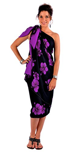 1 World Sarongs Womens PLUS Size FRINGELESS Hibiscus Sarong in Purple On Black