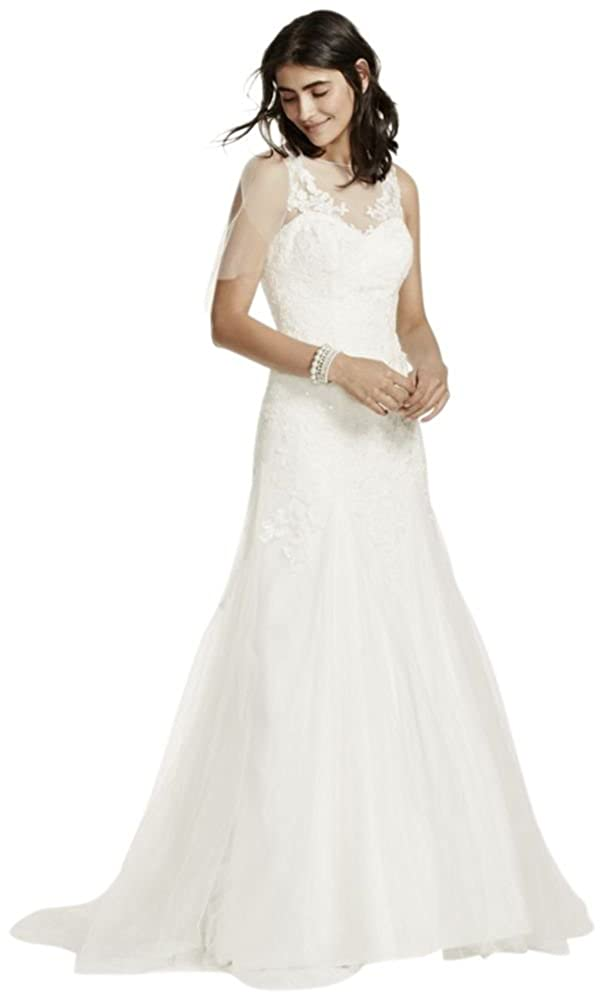 Davids Bridal Sample Illusion Tank Wedding Dress With Deep V Back