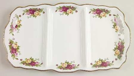 Royal Albert Old Country Roses 3-Part Relish, Fine China Dinnerware