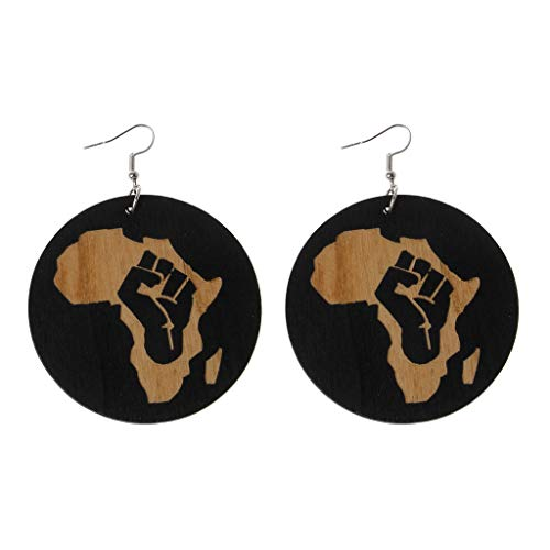 YOUSIKE Natural Wood Drop Dangle Earring, Africa Black Gueen Reggae Earrings Women Exaggerated Bib Gifts For Women