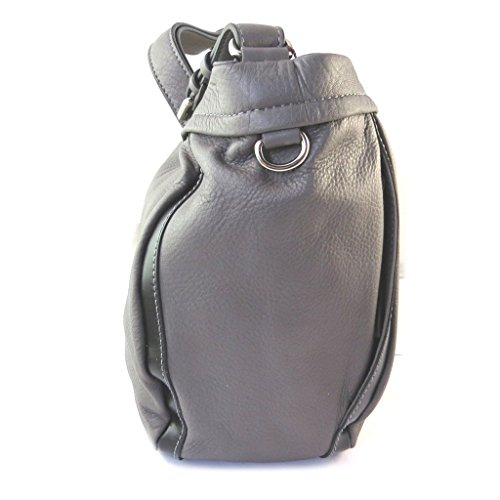 "Gianni Conti [N8060] - Sac cuir ""Gianni Conti"" gris taupe - 30x25x15 cm"