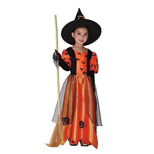 Girls Skirt Dress Children's Halloween cosplay pumpkin witch costume (L)]()