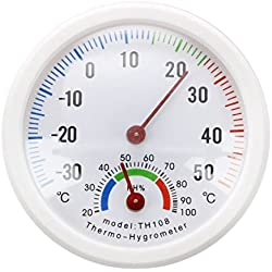 SODIAL(R) Thermometer hygrometer needle round dial TESTER interior exterior white