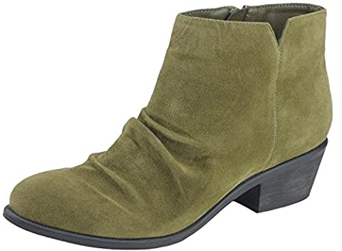 Anna Shoes Women's Scrunch Vamp Block Heel Ankle Bootie (8 B(M) US, Olive) - Leather Scrunch Boot