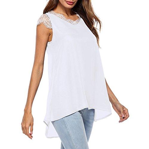 Chemises Manches sans Mousseline Patchwork White De en Soie Dentelle Chemises Femmes Bas Haut Blouse qtw0PxHE